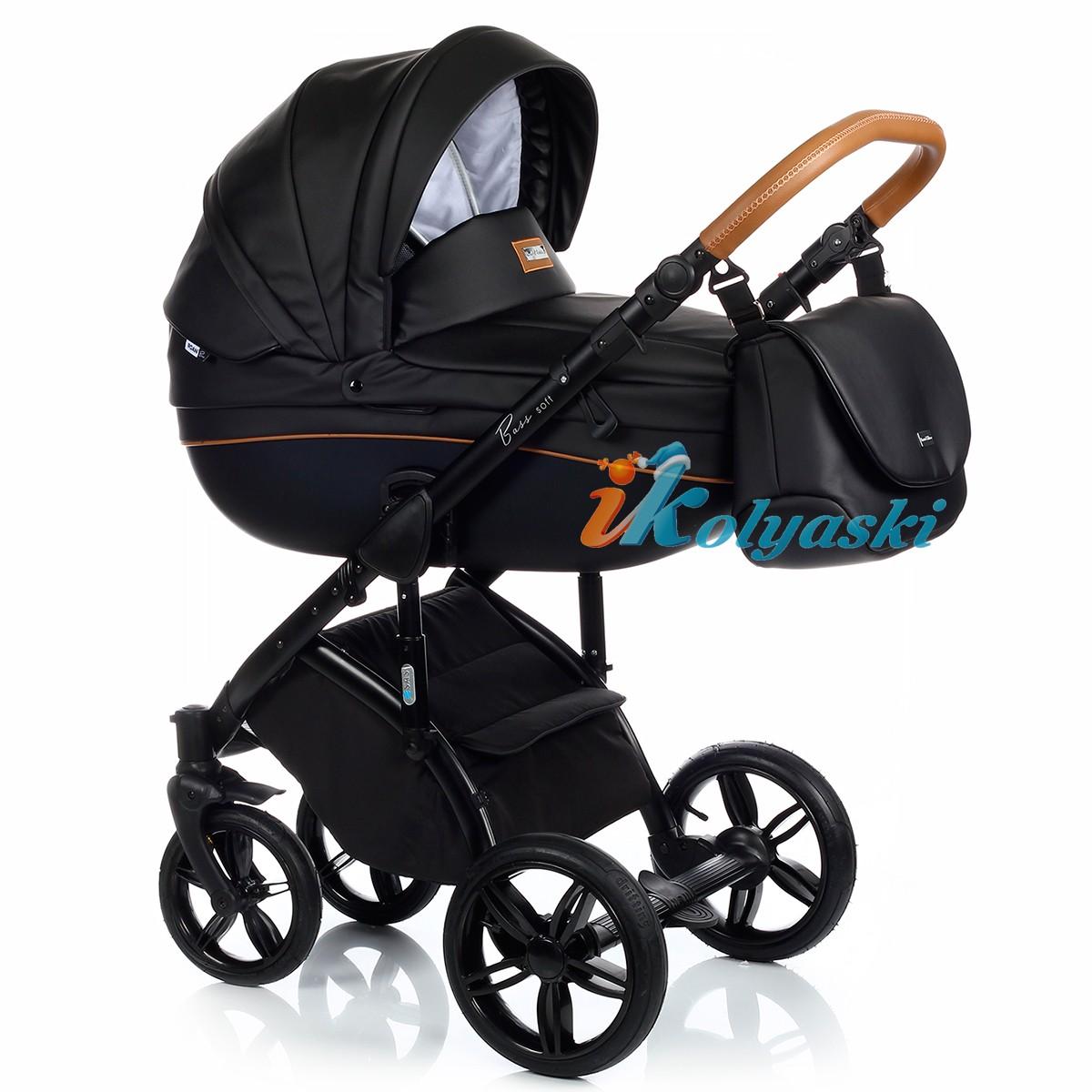 Roan Bass Soft Leather & Denim (Jeans), Детская коляска для новорожденных, на поворотных колесах, коляска 3 в 1 Roan Bass Soft  - Роан Басс шасси Софт, обшивка люльки Эко-Кожа и джинс. Хит 2018. Roan Bass Soft Leather, Детская коляска для новорожденных, детская коляска на поворотных колесах, коляски 3 в 1, коляска Roan Bass Soft, коляска Роан Басс Софт, коляски новинки 2018, детские коляски новинки 2018, коляски Roan, детские коляски роан купить, коллекция экокожа, цвет NIGHT BLACK
