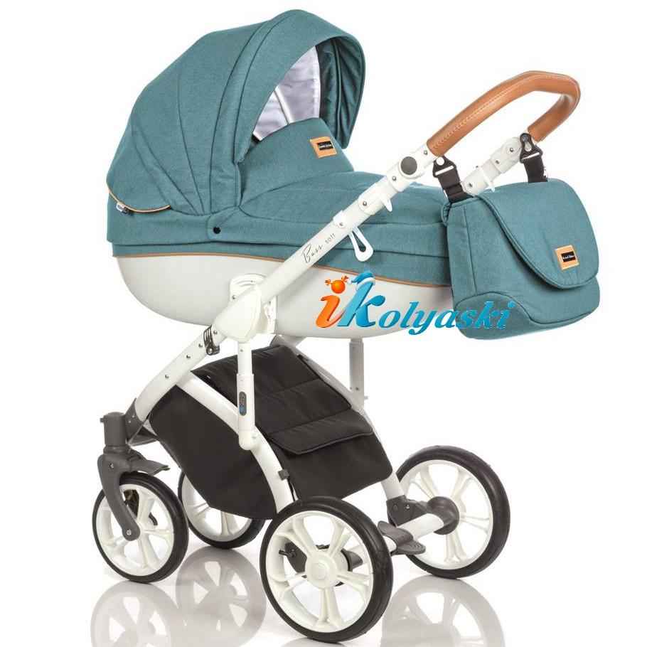 Детская коляска для новорожденных Roan Bass Soft LE, 3 в 1, Роан Басс Софт с автокреслом группы 0+ Roan Kite / Poppy , цвет OCEAN COGNAC