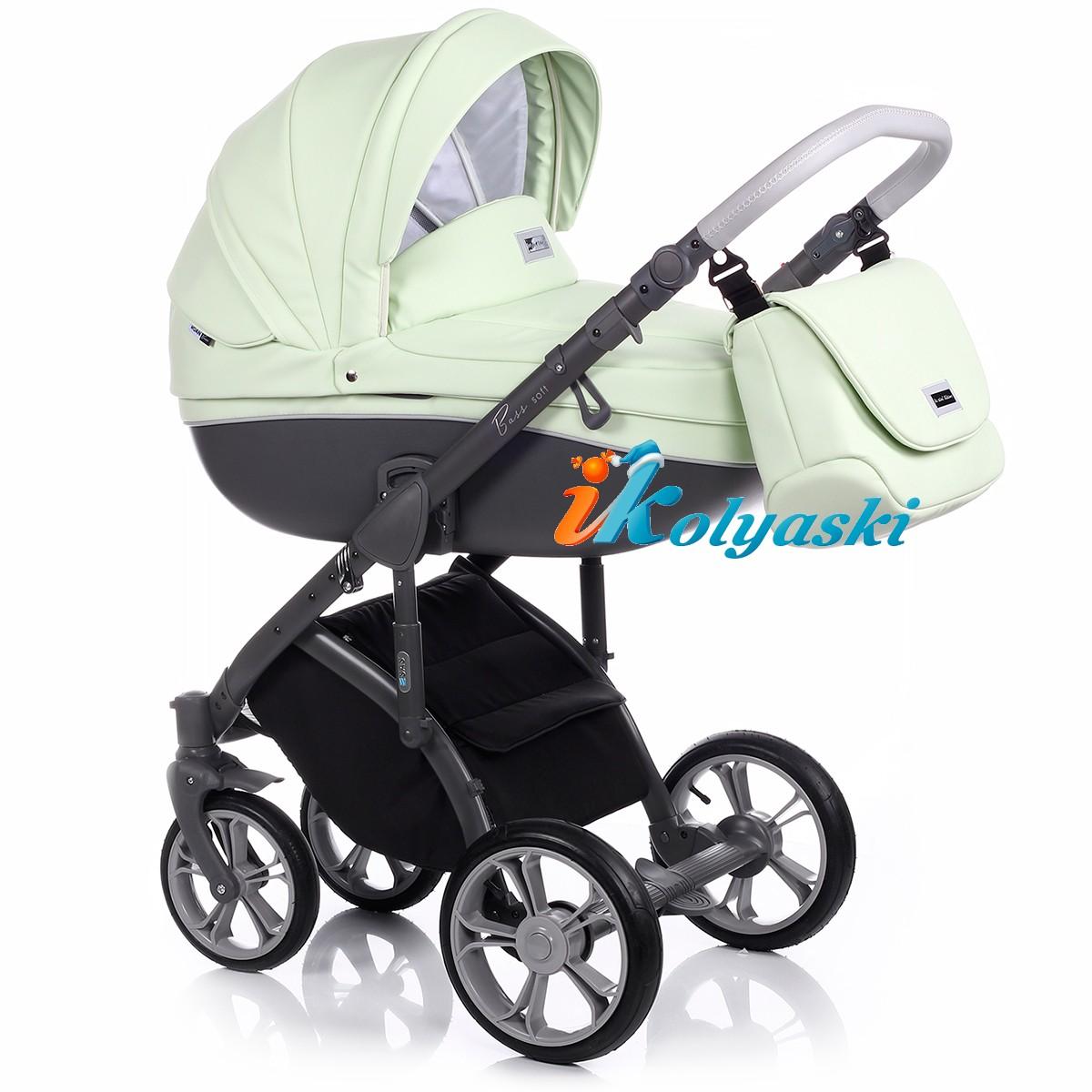 Детская коляска для новорожденных Roan Bass Soft LE, 3 в 1, Роан Басс Софт с автокреслом группы 0+ Roan Poppy, цвет PASTEL MINT