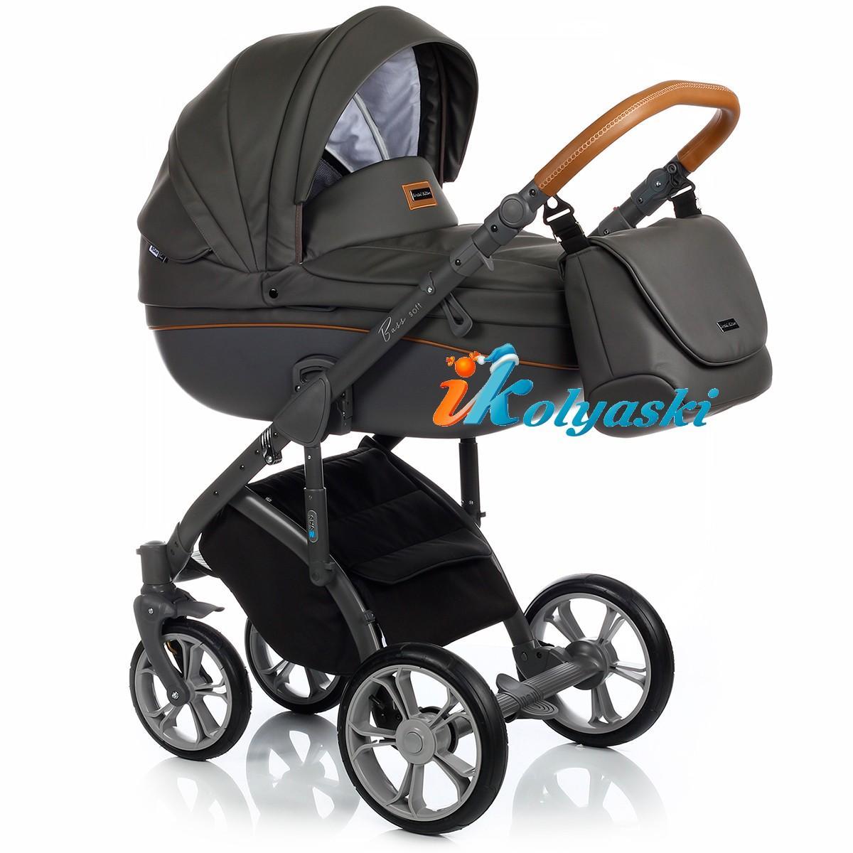Детская коляска для новорожденных Roan Bass Soft LE, 3 в 1, Роан Басс Софт с автокреслом группы 0+ Roan Poppy, ECO LEATHER COLLECTION color SHADOW GREY