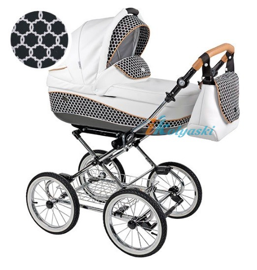 Детская коляска для новорожденных Roan Emma Chrome 2 в 1, Роан Эмма Хром на 12 дюймовых надувных колесах. Цвет D42