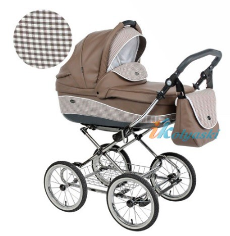 Детская коляска для новорожденных Roan Emma Chrome 2 в 1, Роан Эмма Хром на 12 дюймовых надувных колесах. Цвет E10