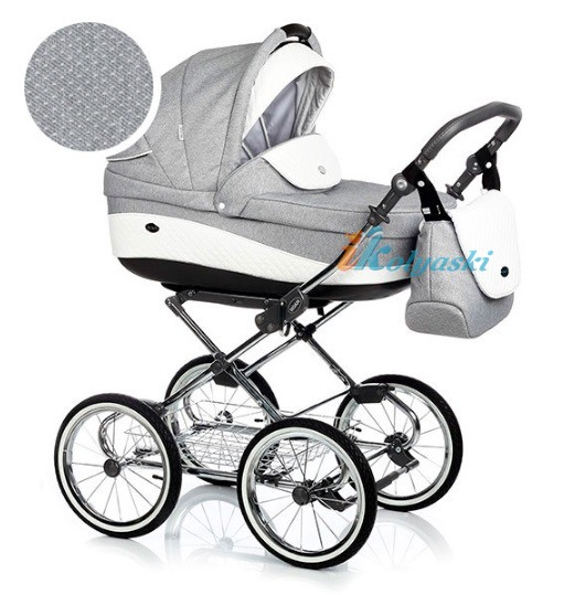 Детская коляска для новорожденных Roan Emma Chrome 2 в 1, Роан Эмма Хром на 12 дюймовых надувных колесах. Цвет E165