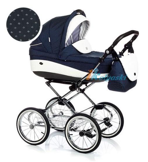 Детская коляска для новорожденных Roan Emma Chrome 3 в 1, Роан Эмма Хром на 14 дюймовых надувных колесах, цвет E190