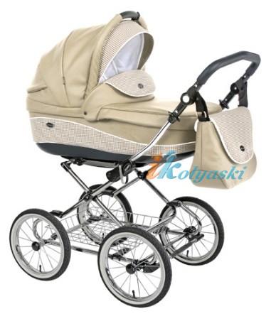 Детская коляска для новорожденных Roan Emma Chrome 2 в 1, Роан Эмма Хром на 12 дюймовых надувных колесах. Цвет E25
