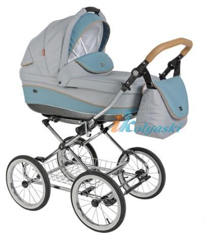 Детская коляска для новорожденных Roan Emma Chrome 2 в 1, Роан Эмма Хром на 12 дюймовых надувных колесах. Цвет E30