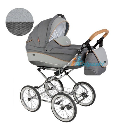 Детская коляска для новорожденных Roan Emma Chrome 3 в 1, Роан Эмма Хром на 14 дюймовых надувных колесах, цвет E31