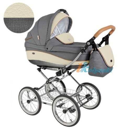 Детская коляска для новорожденных Roan Emma Chrome 3 в 1, Роан Эмма Хром на 14 дюймовых надувных колесах, цвет E33