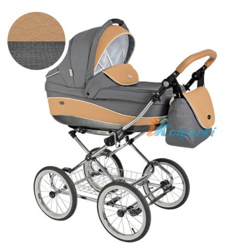 Детская коляска для новорожденных Roan Emma Chrome 2 в 1, Роан Эмма Хром на 12 дюймовых надувных колесах. Цвет E34