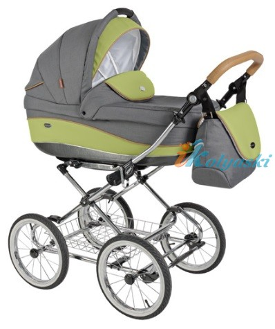 Детская коляска для новорожденных Roan Emma Chrome 2 в 1, Роан Эмма Хром на 12 дюймовых надувных колесах. Цвет E35