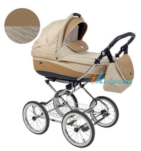 Детская коляска для новорожденных Roan Emma Chrome 2 в 1, Роан Эмма Хром на 12 дюймовых надувных колесах. Цвет E37