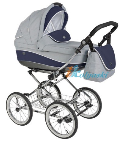 Детская коляска для новорожденных Roan Emma Chrome 2 в 1, Роан Эмма Хром на 12 дюймовых надувных колесах. Цвет E38