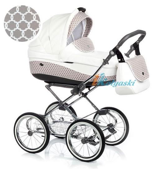 Детская коляска для новорожденных Roan Emma Chrome 2 в 1, Роан Эмма Хром на 12 дюймовых надувных колесах. Цвет E43