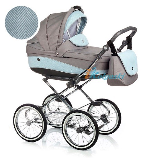 Детская коляска для новорожденных Roan Emma Chrome 2 в 1, Роан Эмма Хром на 12 дюймовых надувных колесах. Цвет E49