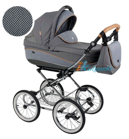 Детская коляска для новорожденных Roan Emma Chrome 3 в 1, Роан Эмма Хром на 14 дюймовых надувных колесах, цвет E50
