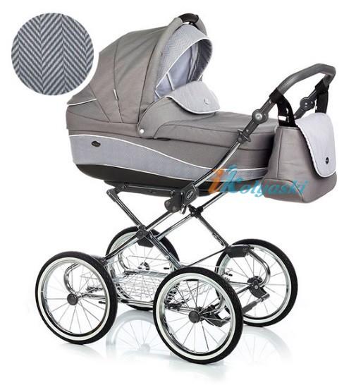 Детская коляска для новорожденных Roan Emma Chrome 2 в 1, Роан Эмма Хром на 12 дюймовых надувных колесах. Цвет E51