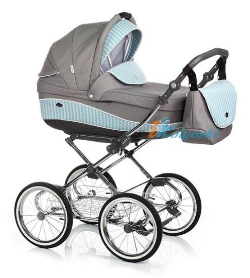 Детская коляска для новорожденных Roan Emma Chrome 3 в 1, Роан Эмма Хром на 14 дюймовых надувных колесах, цвет E52