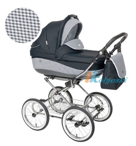 Детская коляска для новорожденных Roan Emma Chrome 2 в 1, Роан Эмма Хром на 12 дюймовых надувных колесах. Цвет E9