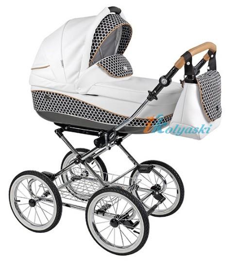 Детская коляска для новорожденных Roan Emma Chrome 3 в 1, Роан Эмма Хром на 14 дюймовых надувных колесах. Новые расцветки 2017. Люлька комбинирована из эко-кожи и ткани, ручка эко-кожа. Современная модульная коляска из Европы для мобильных родителей, кто планирует часто ездить с малышом на автомобиле. Автокресло для новорожденного ставится на шасси от коляски.
